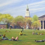 "09 ""Spring on the Dartmouth Green"", oil painting, 22"" x 34"""