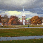 "11 ""A Stormy Fall Day on the Dartmouth Green"", oil on stretched canvas, 22"" x 34"" (2016)"