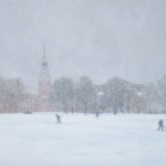 "12 ""A Snowy Fall Day on the Dartmouth Green"", oil on canvas, 22"" x 34"""