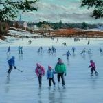 """03 KR and Children at Occom Pond, oil, 18"""" x 24"""""""