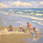"02 Children Playing in the Sand (Hilton Head Island, SC), oil on canvas, 32"" x 48"""