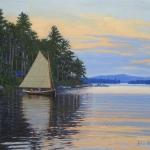 "01 Larry's Sailboat on Squam Lake, Sunset, oil, 16"" x 20"""