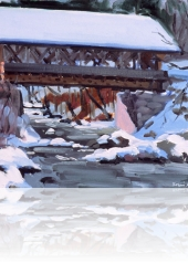 """01 Covered Bridge in Winter, oil on canvas, 12"""" x 16"""""""