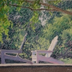 "11 Two Chairs: Midsummer, pastel, 9"" x 12"""