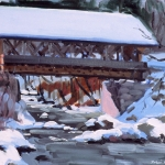 "01 Covered Bridge in Winter, oil on canvas, 12"" x 16"""