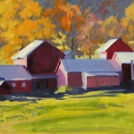 "02 Farm Buildings in Autumn, oil on canvas, 10"" x 20 1/2"""