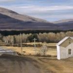 "07 North Hyde Park, VT Panorama, charcoal, egg tempera and oil, 16"" x 48"""