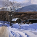 "08 The Lepine Farm in Winter (Morristown Corners, VT), oil on canvas, 16"" x 50"""