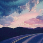 "07 Sunset and Road, pastel, 24"" x 37"", Price: $1,500"