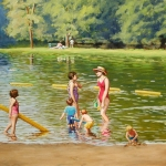 "08 Storrs Pond Series: A Pleasant Afternoon, oil on gessoed paper, 12"" x 18"", Not for sale"