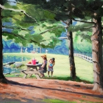 "09 Storrs Pond Series: Picnic, 10 1/2"" x 14 1/2"", Not for sale"