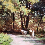 "23 The Dogs Take A Walk, oil on primed canvas, 11"" x 15"", Not for sale"