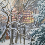 "21 Snow on Trees out my Studio Window, oil on board, 91/2"" x 16"", Not for sale"