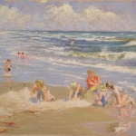 "13 Children Playing in the Sand, 9 1/2"" x 14 1/2"", Price: $1,000"