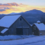 "14 Barns at Sunset (Winter), 14"" x 18"", Not for Sale"