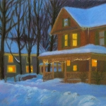 "20 Sargent St. on a Snowy Night, 16"" x 24 1/2"", Price: $1,750"