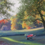 "08 Wheelbarrow by the Garden, 15"" x 20"", Price: $1,000"
