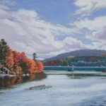 "12 Autumn on the Connecticut, gicle'e print from an original oil painting of the 2012/13 Dartmouth Women's crew team. Edition of 500, authorized and numbered by The Robin Nuse Collection, 13 1/2"" x 18"", Price: $160"