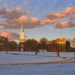 "13 Winter on the Dartmouth Green - After Sunset, giclée print, edition of 300, authorized and numbered by The Robin Nuse Collection, 13"" x 20"", Price: $225. This print is made using the giclée digital printing process, individually printed by an Iris computer using an 8-color process with low fade inks on archival, acid-free, 100% rag paper. This is from the original oil painting."