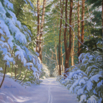 "14 Pine Park in Winter, giclée print, edition of 300, authorized and numbered by The Robin Nuse Collection, 19"" x 20"", Price: $300. This print is made using the giclée digital printing process, individually printed by an Iris computer using an 8-color process with low fade inks on archival, acid-free, 100% rag paper. This is from an original oil painting."